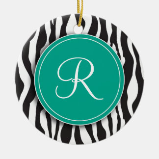 Girly Emerald Monogram Zebra Print Ornament