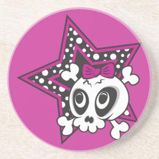 Girly Emo Skull Drink Coaster