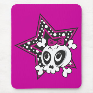 Girly Emo Skull Mouse Pad