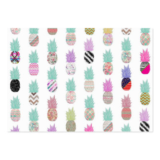 Girly Exotic Pineapple Aztec Floral Pattern Business Card Template