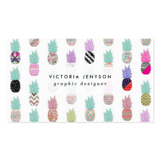 Girly Exotic Pineapple Aztec Floral Pattern Double-Sided Standard Business Cards (Pack Of 100)