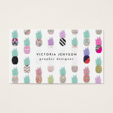 Aztec Themed Girly Exotic Pineapple Aztec Floral Pattern Business Card