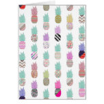 Girly Exotic Pineapple Aztec Floral Pattern Cards