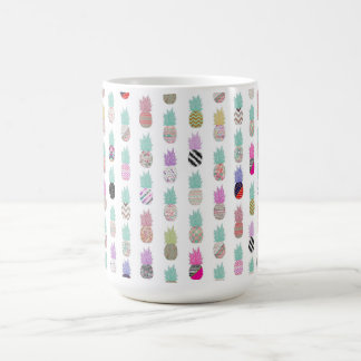Girly Exotic Pineapple Aztec Floral Pattern Classic White Coffee Mug