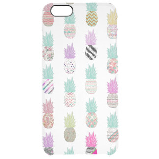 Girly Exotic Pineapple Aztec Floral Pattern Clear iPhone 6 Plus Case