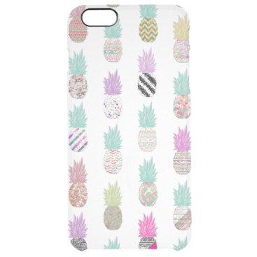 Aztec Themed Girly Exotic Pineapple Aztec Floral Pattern Clear iPhone 6 Plus Case