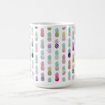 Aztec Themed Girly Exotic Pineapple Aztec Floral Pattern Coffee Mug