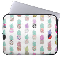 Girly Exotic Pineapple Aztec Floral Pattern Computer Sleeve