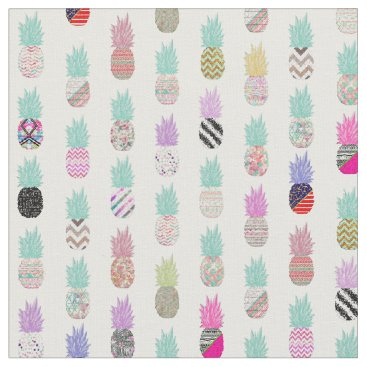 Aztec Themed Girly Exotic Pineapple Aztec Floral Pattern Fabric