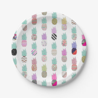 Girly Exotic Pineapple Aztec Floral Pattern Paper Plate