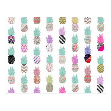 Aztec Themed Girly Exotic Pineapple Aztec Floral Pattern Postcard