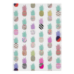 Girly Exotic Pineapple Aztec Floral Pattern Poster