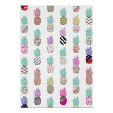 Aztec Themed Girly Exotic Pineapple Aztec Floral Pattern Poster