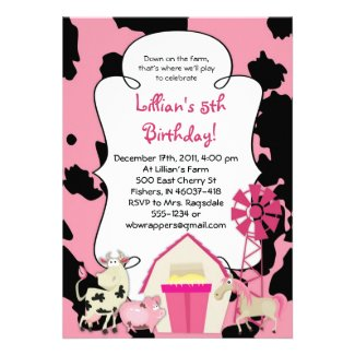GIRLY FARM Themed Birthday Party Invitation