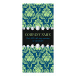 girly fashion elegant mint teal blue damask rack card