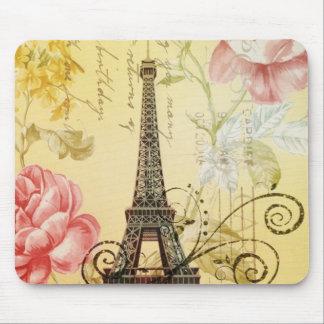 girly fashion floral  eiffel tower vintage paris mouse pad