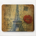 girly fashion floral eiffel tower vintage paris mouse pad