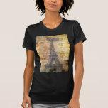 girly fashion floral eiffel tower vintage paris t-shirts