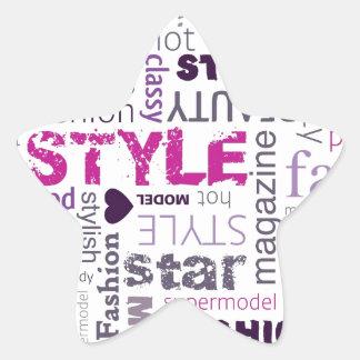Girly Fashion Love Purple Pink Star Sticker