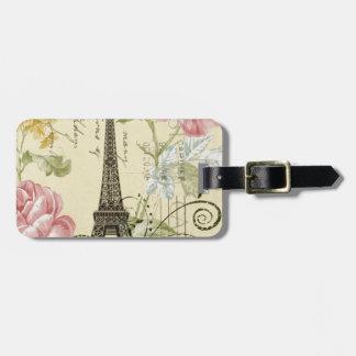 girly fashion paris eiffel tower vintage tag for luggage