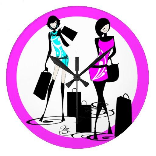 Girly fashion shopping models trendy clocks
