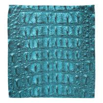 girly fashion turquoise blue Alligator Leather Bandana