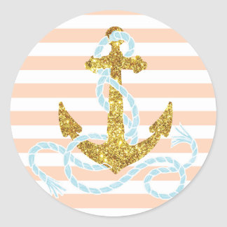 Girly Faux Glitter Anchor Classic Round Sticker