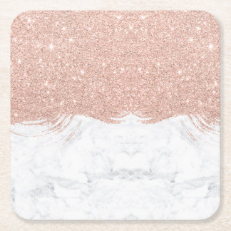 Girly faux glitter rose gold brushstrokes marble square paper coaster
