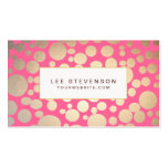 Girly Faux Gold Leaf Circles Pink Business Card Template