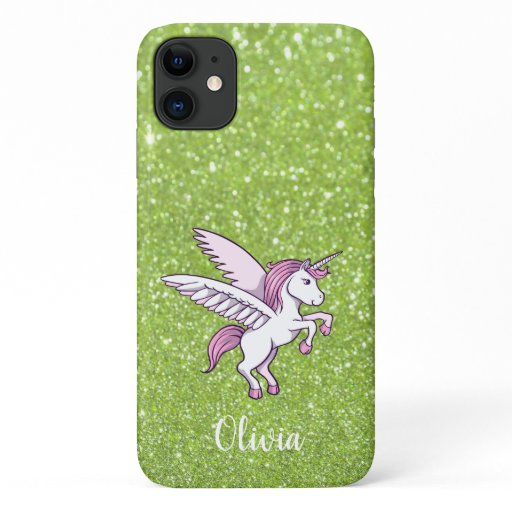 Girly Faux Green Sparkle Unicorn Personalized iPhone 11 Case