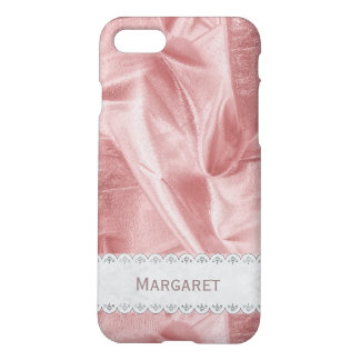 : Girly Faux Pink Lame' Metallic Fabric iPhone 8/7 Case