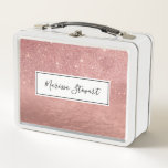 """Girly Faux Rose Gold Glitter Crumbled Foil Ombre Metal Lunch Box<br><div class=""""desc"""">Decorate your home with this fashionable design which features a faux printed pink rose gold glitter and crumbled rose gold foil ombre gradient print that will enhance your decor with a personalized and custom feel. This unique and trendy design will add your home&#39;s attitude and style. You can also gift...</div>"""