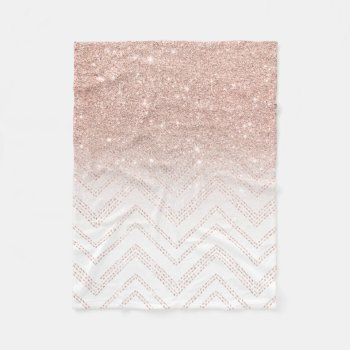 Girly faux rose gold glitter ombre modern chevron fleece blanket