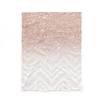 Girly faux rose gold glitter ombre modern chevron fleece blanket
