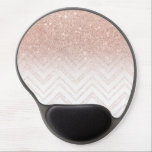 "Girly faux rose gold glitter ombre modern chevron gel mouse pad<br><div class=""desc"">A modern,  girly and chic pattern with faux rose gold glitter ombre and a geometric chevron stitch pattern. The background color is fully customizable</div>"