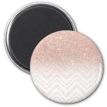 Girly faux rose gold glitter ombre modern chevron magnet