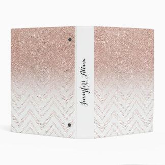 Girly faux rose gold glitter ombre modern chevron mini binder