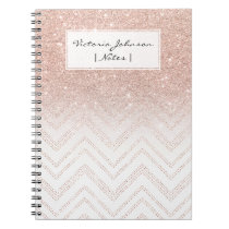 Girly faux rose gold glitter ombre modern chevron notebook