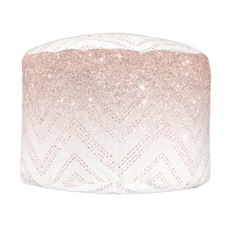 Girly faux rose gold glitter ombre modern chevron pouf