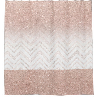 Girly Faux Rose Gold Glitter Ombre Modern Chevron Shower Curtain
