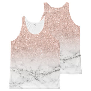 74913b7b6c3ce Girly faux rose pink glitter ombre white marble All-Over-Print tank top