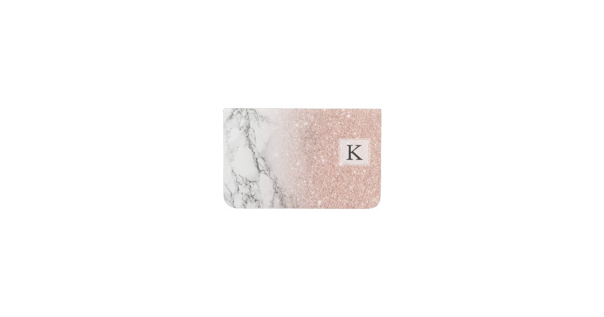 Girly faux rose pink glitter ombre white marble business card holder ...