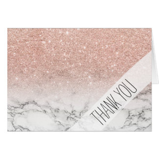 Girly faux rose pink glitter ombre white marble card