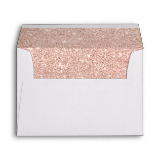 Girly faux rose pink glitter ombre white marble envelope