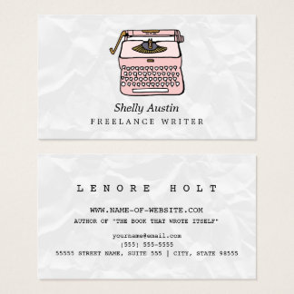 Girly Fiction Writer With Retro Pink Typewriter Business Card