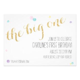 Girly First Birthday Invitation - Glitter Gold Invitations