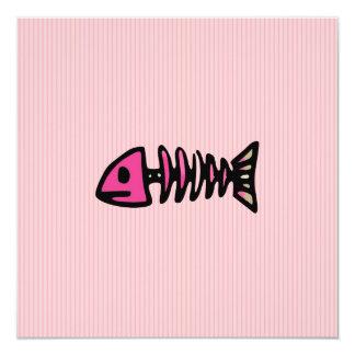 Girly Fish Bones Skeleton Gifts 5.25x5.25 Square Paper Invitation Card