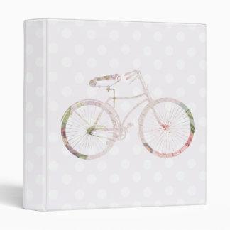 Girly Floral Bicycle 3 Ring Binder
