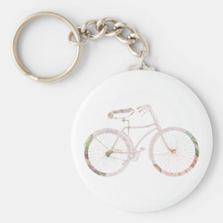 Girly Floral Bicycle Basic Round Button Keychain