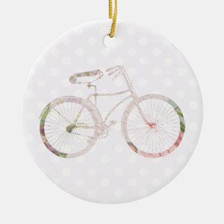 Girly Floral Bicycle Ceramic Ornament